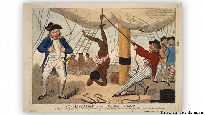 18. Jahrhundert Bestrafung auf Sklavenschiff (picture-alliance/akg-images)
