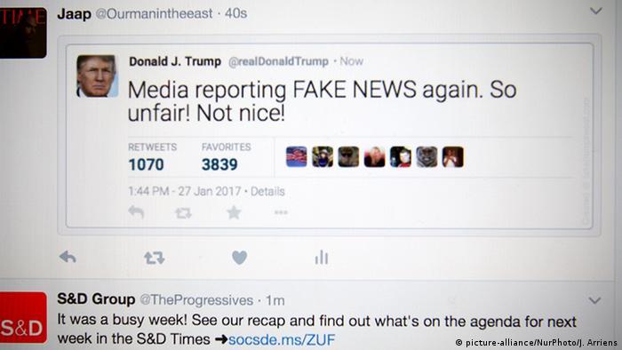 Tweet von Donald Trump, in dem er sich über Fake News beschwert