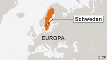 Section of a map of Europe with 'Schweden' highlighted
