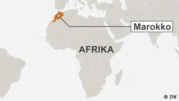 Section of a map of Africa with 'Marokko' highlighted