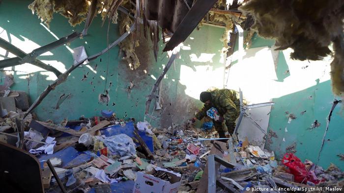 Ukraine Donetsk Zerstörung nach Granaten-Beschuss (picture alliance/dpa/Sputnik/I. Maslov)