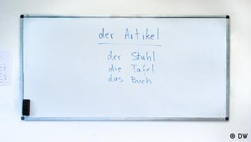 A board with the text: der Artikel (this is a headline), der Stuhl, die Tafel, das Buch