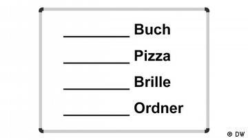 List with articles missing before the words: Buch, Pizza, Brille, Ordner