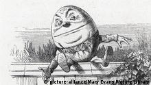 Alice meets Humpty Dumpty and hears the alarming story of his great fall. Date: (Mary Evans Picture Library) | Nur für redaktionelle Verwendung., Keine Weitergabe an Wiederverkäufer.