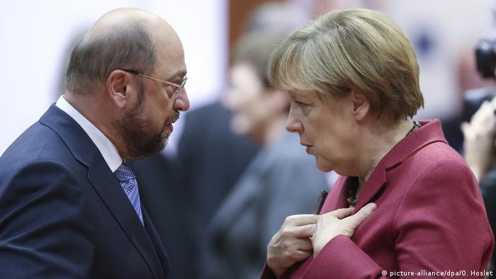 Belgien Brüssel - Martin Schulz und Angela Merkel