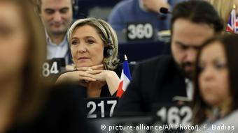 French far-right leader Marine Le Pen at a session of the European Parliament in Strasbourg, eastern France in January