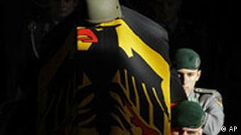 The flag-draped coffin of a German soldier killed in Afghanistan