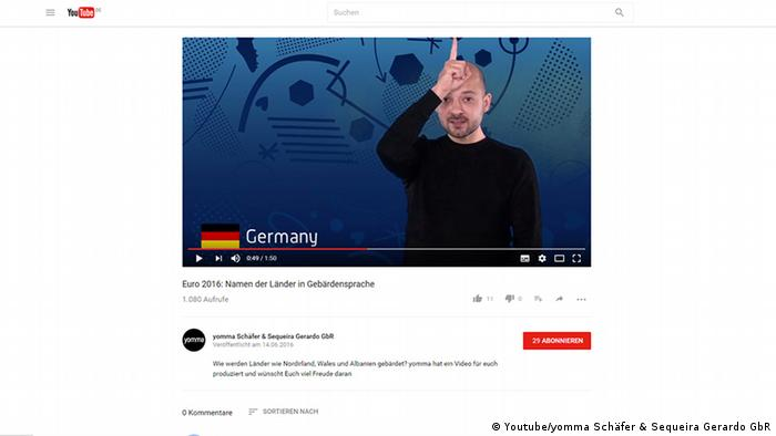 Screenshot: Youtube Gebärdensprache Deutschland (Youtube/yomma Schäfer & Sequeira Gerardo GbR)