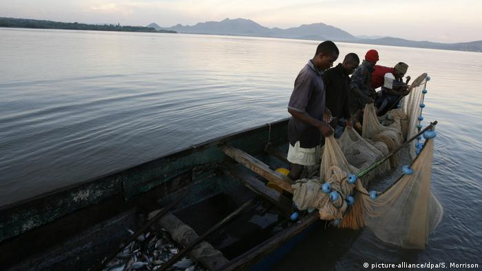 A family of fishermen check their nets in the early morning on the Kenyan side of Lake Victoria (picture-alliance/dpa/S. Morrison)