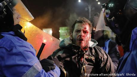 Bleeding protester
