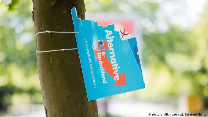 Zerstörtes Wahlplakat AfD Alternative für Deutschland (picture-alliance/dpa/J. Stratenschulte)