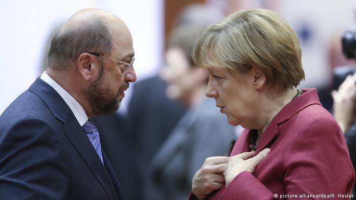 Deutschland Martin Schulz und Angela Merkel