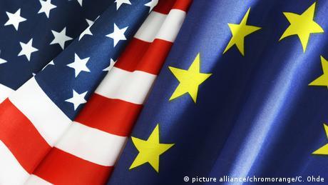 Symbolbild EU USA Flagge
