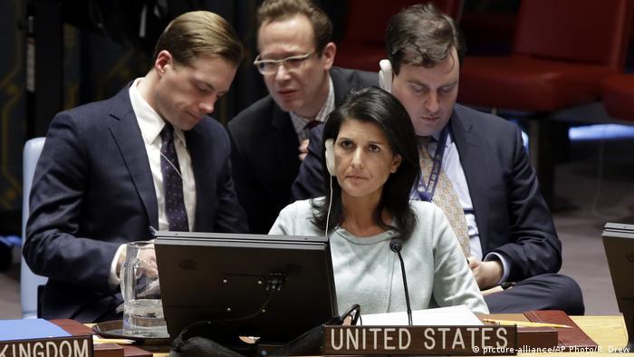 Ніккі Хейлі під час засідання РБ ООН