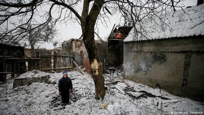 The aftermath of shelling in a residential area in eastern Ukraine