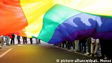 epa02797493 Members of the lesbian, gay, bisexual and transgender community participate in the 'Gay Pride Day' parade in the streets of Bogota, Colombia, on 26 June 2011. The community rally through the Colombian cities of Bogota, Medellin and Cali in defense of marriage between same sex couples and adoption. EPA/LEONARDO MUNOZ |