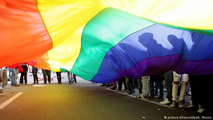 Люди держат флаг ЛГБТ