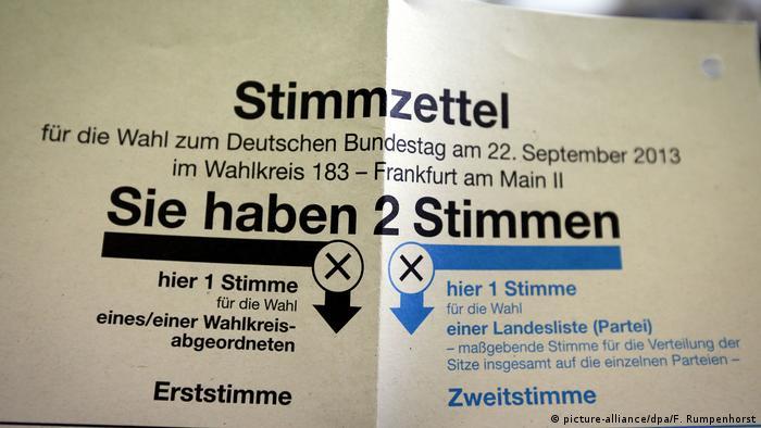 Deutschland Bundestagswahl 2013 - Wahlschein (picture-alliance/dpa/F. Rumpenhorst)