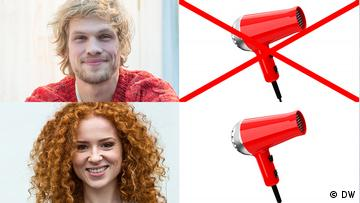 Photo collage, left to right: portrait photo of Sebastian; hair dryer crossed out; portrait photo of Nina; hair dryer