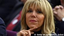 Brigitte Trogneux looks on during a meeting of her husband, Former French Economy Minister, founder and president of the political movement En Marche ! and candidate for the 2017 presidential elections Emmanuel Macron on December 13, 2016 in Talence, southwestern France. / AFP / GEORGES GOBET (Photo credit should read GEORGES GOBET/AFP/Getty Images)