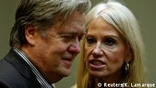 January 31, 2017. U.S. President Donald Trump's chief strategist Steve Bannon (L) and senior aide Kellyanne Conway speak at meeting hosted by Trump with cyber security experts in the Roosevelt Room of the White House in Washington January 31, 2017. REUTERS/Kevin Lamarque