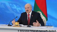 3020943 02/03/2017 President of Belarus Alexander Lukashenko at a news conference in Minsk. The image is a handout, provided by a third party. Editorial use only. The ban on the backup, commercial use or advertising campaign. Maksim Gucheck/Belarusian Telegraph Agency |