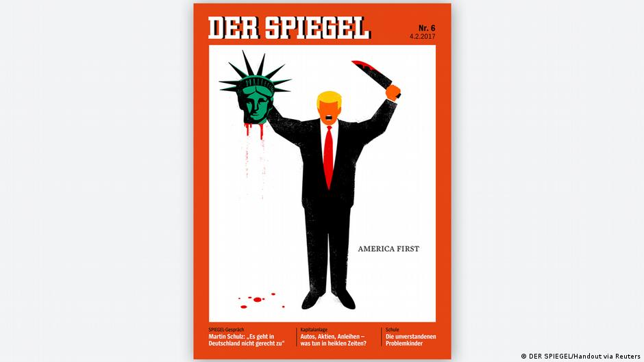 der spiegel magazine sparks furor as cover depicts trump. Black Bedroom Furniture Sets. Home Design Ideas