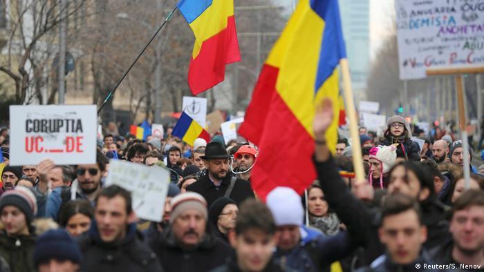 Участники протестов в Бухаресте