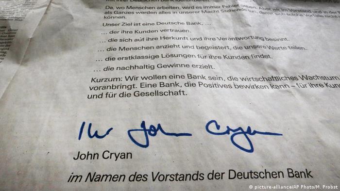 Germany Deutsche Bank Anzeige Entschuldigung