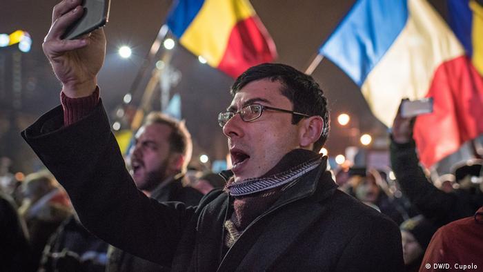 Участник акции протеста Михай Оприца, 31-летний IT-специалист