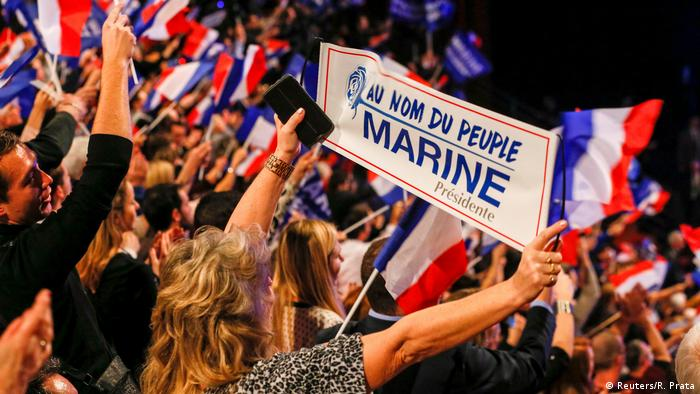 Le Pen supporters at a rally