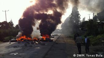 Äthiopien Proteste   Brennende Reifen in Sabata