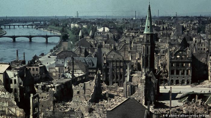 Центр Франкфурта-на-Майне в 1945 году.