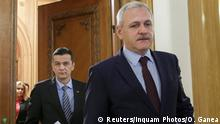 06.02.2017 Romania's Prime Minister Sorin Grindeanu and Social Democrat Party (PSD) leader Liviu Dragnea leave a party meeting at the parliament in Bucharest, Romania, February 6, 2017. Inquam Photos/Octav Ganea via REUTERS ATTENTION EDITORS - THIS IMAGE WAS PROVIDED BY A THIRD PARTY. EDITORIAL USE ONLY. ROMANIA OUT. NO COMMERCIAL OR EDITORIAL SALES IN ROMANIA.