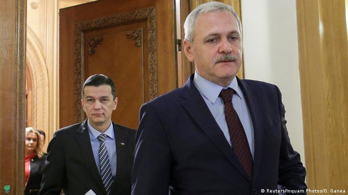 Romanian politicians Sorin Grindeanu and Liviu Dragnea in Bucharest