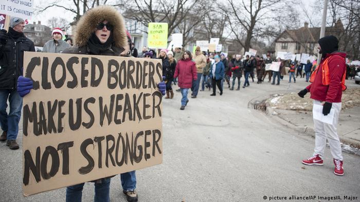 Protesto contra veto migratório de Trump em Wisconsin