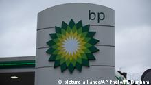 The logo of the BP is seen outside its petrol station in East Molesey, southwest London
