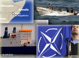 A collection of images from NATO and of the Somali pirates