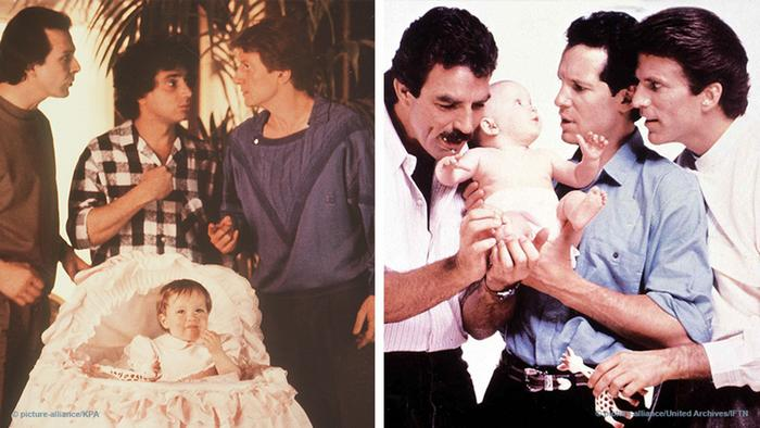 Two film stills, both showing three men around a baby