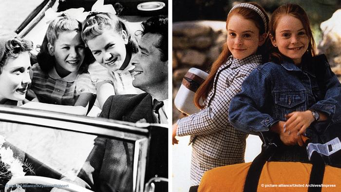 Two film stills: a smiling family in Das doppelte Lottchen from 1951, and The Parent Trap from 1998 with Lindsay Lohan portraying two identical girls