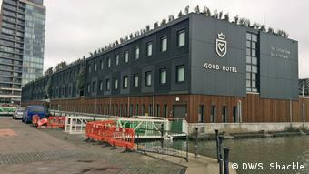 The exterior of The Good Hotel, in London's Royal Victoria Docks