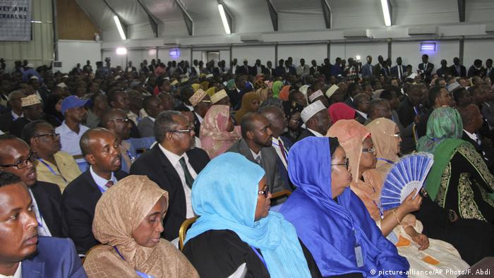 Somali members of parliament wait to cast theri vote in 2017