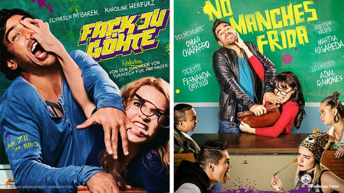 Two film posters, Fack ju Göhte and its Spanish remake No Manches Frida