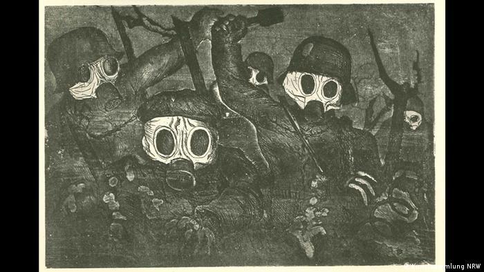 Otto Dix – Der böse Blick (K20, 11.02. – 14.05.2017)- Sturmtruppe geht unter Gas vor (Detail), 1924 (Kunstsammlung NRW)