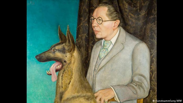 Otto Dix – Der böse Blick (K20, 11.02. – 14.05.2017)- Bildnis des Fotografen Hugo Erfurth mit Hund (Detail), 1926 (Kunstsammlung NRW)