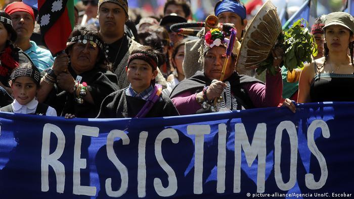 Protestas mapuche en Chile.