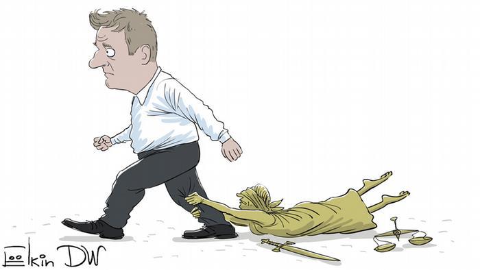 Karikatur Sergey Elkin Kremlkritiker Nawalny erneut zu Bewährungsstrafe verurteilt