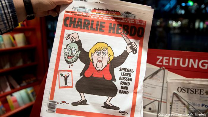 Cover Satire Zeitung Charlie Hebdo Schulz Merkel