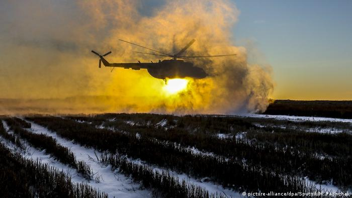 A helicopter flies over the Donetsk region carrying Ukraine's president