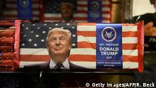 Donald Trump chocolate bars are for sale in a Washington, DC gift shop one day ahead of the inauguration of the US President-elect, January 19, 2017. / AFP / Robyn BECK (Photo credit should read ROBYN BECK/AFP/Getty Images)